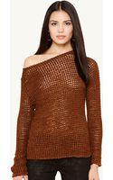 Ralph Lauren Black Label Crocheted Boatneck Sweater - Lyst