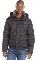 Marc New York Black Quilted Woven Rabbit Fur Timmed Hooded Dave Bomber Jacket - Lyst