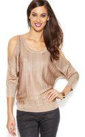 Inc International Concepts Metallic Cold-shoulder Sweater - Lyst