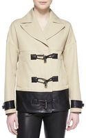 Jason Wu Cropped Togglefront Leathertrim Coat - Lyst
