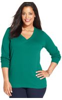 Jones New York Signature Plus Size Three-quarter-sleeve Top - Lyst