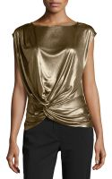 Halston Twisted Draped Lamé Top - Lyst