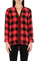 Sandro Enya Checked Silk Shirt - Lyst