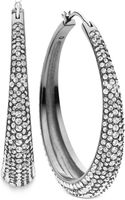 Michael Kors Clear Pavé Hoop Earrings - Lyst