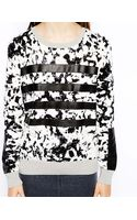 Shae Perforated Stitch Sweater with Leather Stripes - Lyst