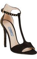 Prada Studded Anklestrap Sandals - Lyst