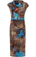 Ted Baker Printed Cowl Neck Dress - Lyst