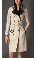 Burberry Long Gabardine Trench Coat with Cashmere Facing - Lyst