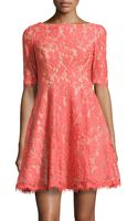 Ml Monique Lhuillier Half-sleeve Fit-and-flare Lace Dress - Lyst