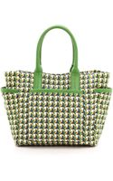 Tory Burch Printed Gardening Tote Wicker Printleaf Green - Lyst