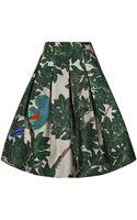 Oscar de la Renta Parrot Embroidered Full Pleated Skirt - Lyst