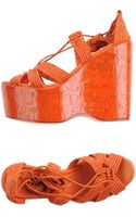 Ralph Lauren Collection Orange High-Heel Wedge Sandals - Lyst