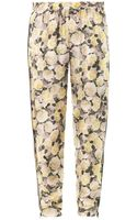 Adam Lippes Rose Print Silk Trousers - Lyst