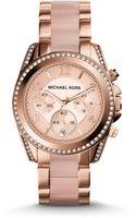 Michael Kors Blair Rose Goldtone Stainless Steel Glitz Chronograph Bracelet Watch - Lyst