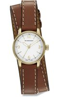 Burberry Utilitarian Goldtone Stainless Steel Leather Doublewrap Watch - Lyst