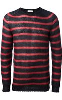 Roberto Collina Striped Open Knit Sweater - Lyst