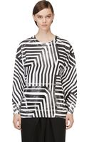 Pierre Balmain Black and White Rubberized Stripe Print Sweatshirt - Lyst