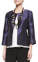 Eileen Fisher 34-sleeve Threaded Silk Jacket - Lyst