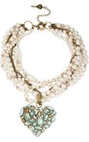 Betsey Johnson Multirow Faux Pearl Crystal Heart Pendant Necklace - Lyst
