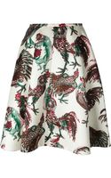 Rochas Rooster Print Midi Skirt - Lyst