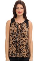 Vince Camuto Animal Dashes Sl Center Seam Blouse - Lyst
