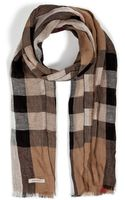 Burberry Linen Checked Scarf - Lyst