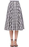 Michael Kors Macro Gingham Midi Skirt - Lyst