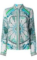 Emilio Pucci Mixed Print Embroidered Shirt - Lyst