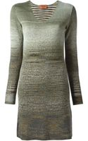 Missoni Knitted V-neck Dress - Lyst
