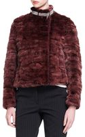 Brunello Cucinelli Monilicollar Striped Mink Fur Jacket - Lyst