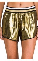 Clover Canyon Metallic Shorts in Metallic Gold - Lyst