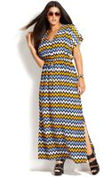 Michael Kors Michael Plus Size Shortsleeve Chevron Printmaxi Dress - Lyst