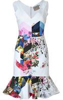 Preen By Thorton Bregazzi Morgan Vneck Printed Flare Dress - Lyst
