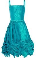 Oscar de la Renta Ruffled Silksatin Mini Dress - Lyst