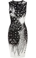 Karen Millen Small Feather Pattern Dress - Lyst