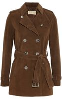 Michael by Michael Kors Suede Trench Coat - Lyst