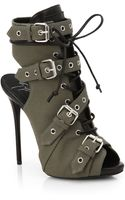 Giuseppe Zanotti Military Canvas Buckle Ankle Boots - Lyst