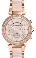 Michael Kors Midsize Rose Golden Stainless Steel Parker Chronograph Glitz Watch - Lyst