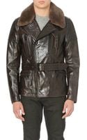 Belstaff Shearling Leather Biker Jacket Brown - Lyst