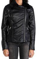 Blank Shearling Moto Jacket in Black - Lyst