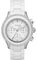 DKNY Womens Chronograph White Ceramic Bracelet 42mm - Lyst