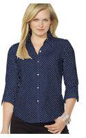 Ralph Lauren Polka Dot Button Front Shirt - Lyst