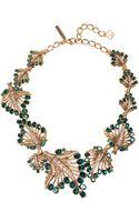 Oscar de la Renta Jeweled Leaf Necklace - Lyst