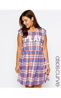 Asos Curve Smock Dress in Check Play Print - Lyst