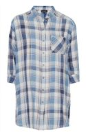 Topshop Womens Oversized Check Shirt  Blue - Lyst