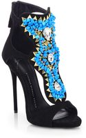 Giuseppe Zanotti Embellished Suede Sandals - Lyst