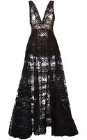 Elie Saab Black Lace Deep V-neck Gown - Lyst