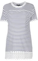 Topshop Womens Maternity Stripe Lace Panel Tee  Navy Blue - Lyst
