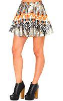 Missguided Belle Premium Aztec Print Sequin Skirt - Lyst