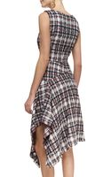 Oscar de la Renta Asymmetric Draped Tweed Dress - Lyst